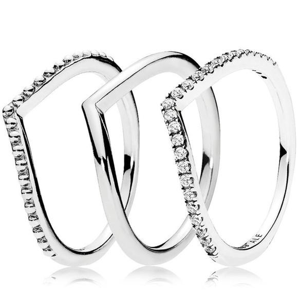 dc3daca4c Pandora Jewelry | New Wishbone Ring Stack Set | Poshmark
